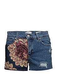 Jacquard denim shorts - OPEN BLUE