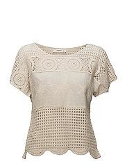 Crochet detail t-shirt - LIGHT BEIGE