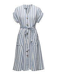Striped linen dress - LT-PASTEL BLUE