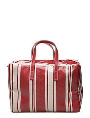 Striped shopper bag - RED