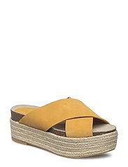 Platform leather sandals - MEDIUM YELLOW