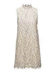 Floral lace dress - LIGHT BEIGE