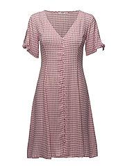 Check pattern midi dress - PINK
