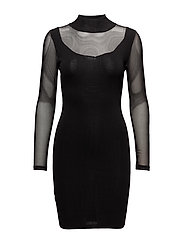 Sheer panels dress - BLACK