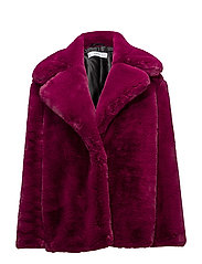 Lapels faux fur coat - PINK