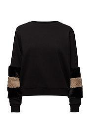 Fur sleeves sweatshirt - BLACK