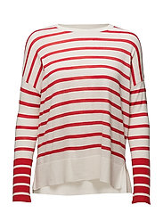 Knit striped sweater - RED