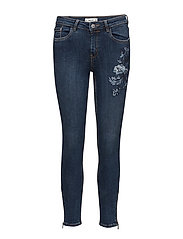 Floral embroidery slim jeans - OPEN BLUE