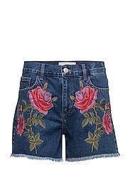 Embroidered denim short - OPEN BLUE