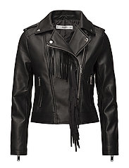 Fringe biker jacket - BLACK