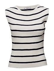 Striped ribbed top - NAVY