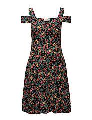 Flowers cold shoulder dress - BLACK