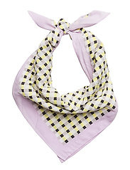 Gingham check printed scarf - YELLOW