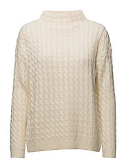 Knitted braided sweater - LIGHT BEIGE