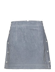 Stitch leather skirt - LT-PASTEL BLUE