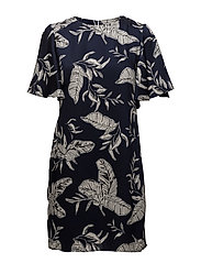 Flowy printed dress - NAVY
