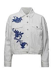 Embroidered denim jacket - WHITE