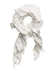 Frayed edge scarf - WHITE