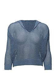 Hood net sweater - LT-PASTEL BLUE
