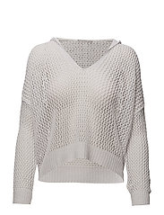 Hood net sweater - WHITE
