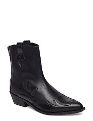 Leather cowboy ankle boots - BLACK