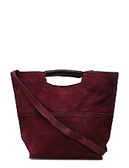 Double-strap leather bag - DARK RED