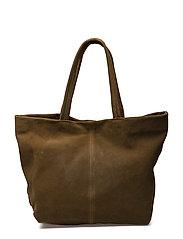Leather shopper bag - BEIGE - KHAKI