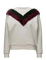 Velvet panel sweatshirt - WHITE