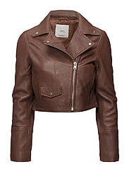 Cropped leather jacket - MEDIUM BROWN