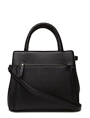 Saffiano-effect tote bag - BLACK