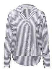 Double-breasted striped shirt - NATURAL WHITE
