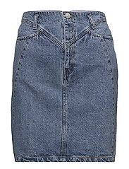 Interwoven cord denim skirt - OPEN BLUE