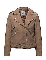 Suede biker jacket - LT-PASTEL PINK