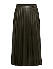 Pleated midi skirt - BEIGE - KHAKI