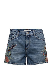 Floral embroidered shorts - OPEN BLUE