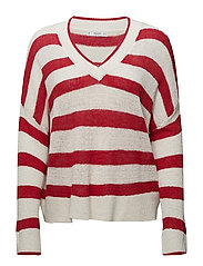 V-neck striped sweater - RED
