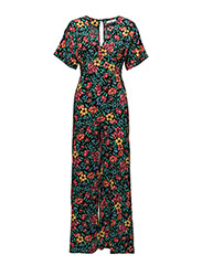Floral long jumpsuit - BLACK