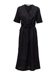 Belt linen dress - BLACK