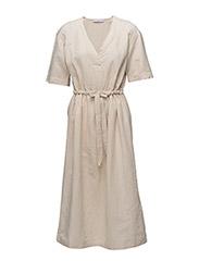 Belt linen dress - LT PASTEL BROWN