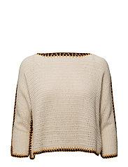 Contrast trim sweater - LIGHT BEIGE