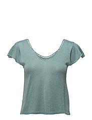 Metallic knit top - TURQUOISE - AQUA