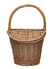 Bamboo basket bag - LIGHT BEIGE
