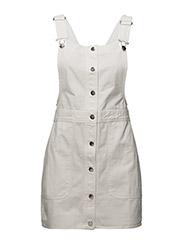 Short cotton pinafore dress - NATURAL WHITE