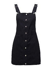 Short cotton pinafore dress - NAVY