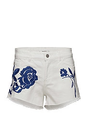 Embroidered denim short - WHITE