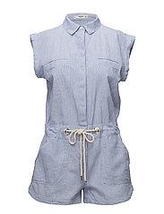 Adjustable cord jumpsuit - LT-PASTEL BLUE