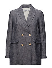 Linen double-breasted blazer - NAVY