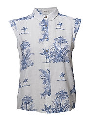 Printed cotton shirt - NATURAL WHITE