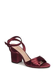 Satined ankle-cuff sandals - DARK RED