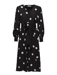 Bow polka-dot dress - BLACK